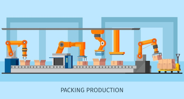 Industrial packing system process template Free Vector
