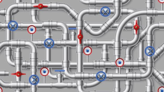 Промышленный трубопровод. стальные водопроводные трубы, металлическая труба с клапаном. переплетенные водоводы для водоснабжения, канализации, водопровода. Premium векторы