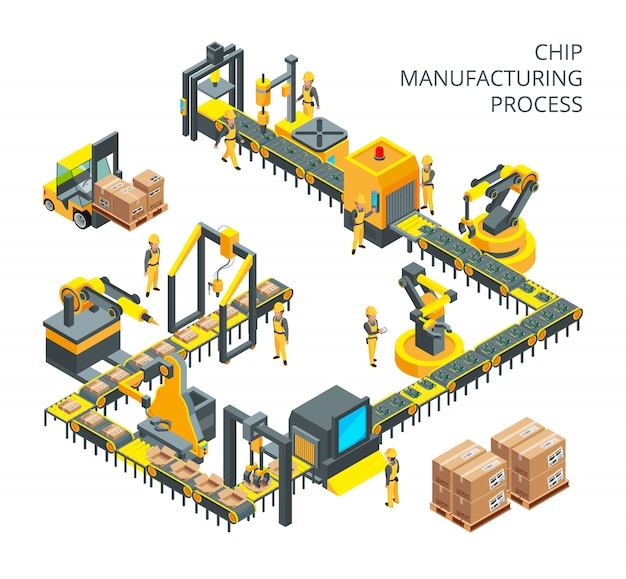 Industrial production of computer parts Premium Vector
