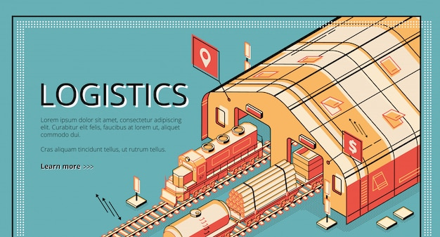 Industrial production logistics isometric  web banner. Free Vector
