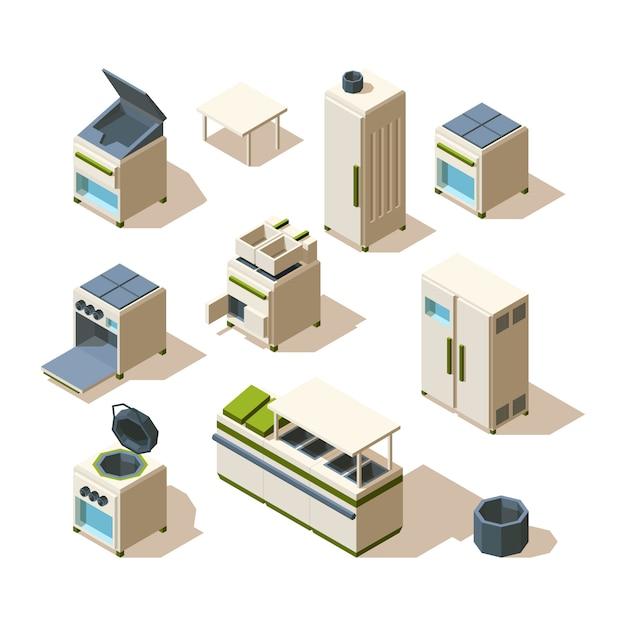 Industrial restaurant equipment. kitchen tools for cooking steel stove refrigerator oven racking Premium Vector