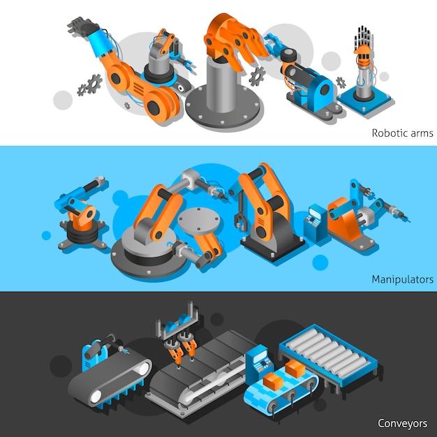 Industrial robot banner set Free Vector