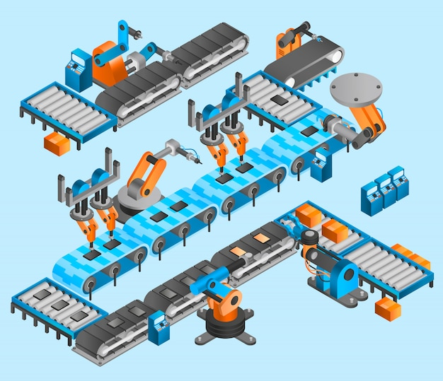 Industrial robot isometric concept Free Vector
