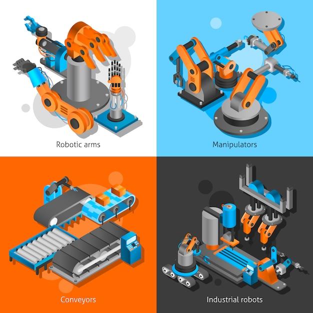 Industrial robot set Free Vector