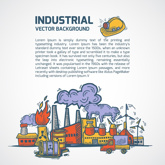 Industrial sketch background with text template Premium Vector