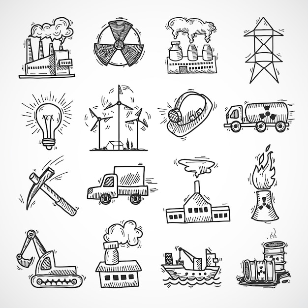 Industrial sketch icon set with oil fuel electricity and energy ...