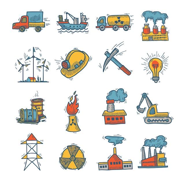 Industrial sketch icon set Premium Vector