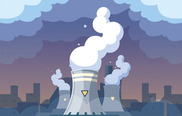 Industrial smoke clouds on city landscap, nuclear reactor environmental pollution Premium Vector