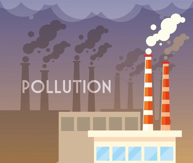 Industrial smoke clouds, environmental pollution industrial Premium Vector