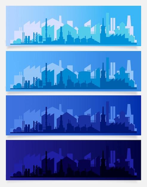 Industrial trendy city skyline colored sets. vector illustration Premium Vector