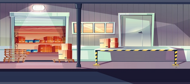 Industrial warehouse service entrances cartoon with open roll gates, loading, unloading ramp Free Vector