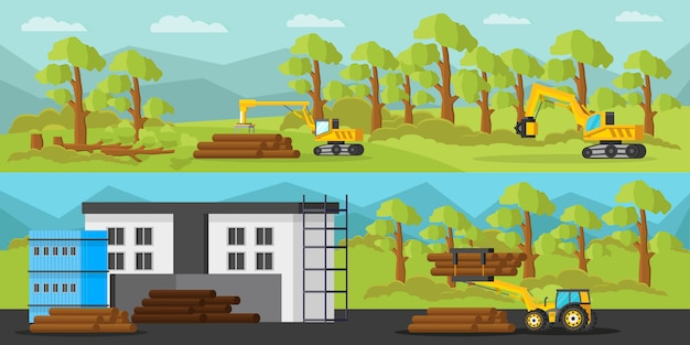 Industrial wood production horizontal banners Free Vector