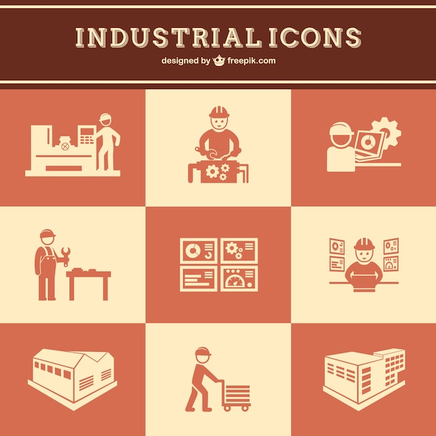 Industrial work icons set Free Vector
