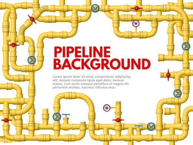 Промышленный желтый трубопровод. рама трубопровода, желтые трубы для газа или нефти векторные иллюстрации фона. Premium векторы