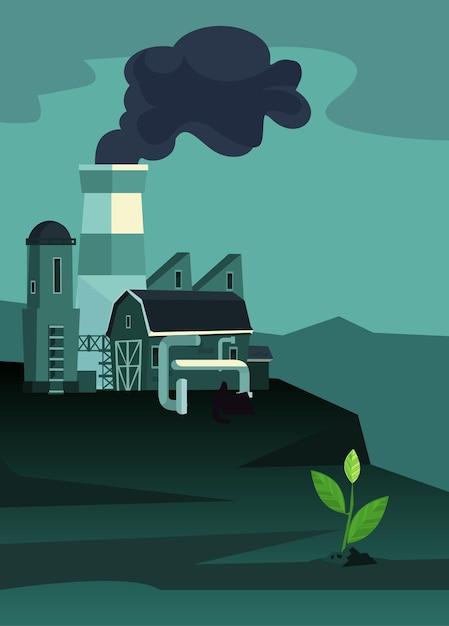 Заводы промышленной зоны с трубами. одно уцелевшее растение. загрязнение окружающей среды. плоский мультфильм иллюстрации Premium векторы