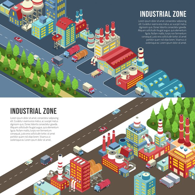Industrial zone horizontal banners Free Vector