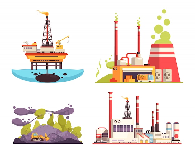 Industry 2x2 design concept set of oil offshore platform refinery power station pollution isolated  illustration Free Vector