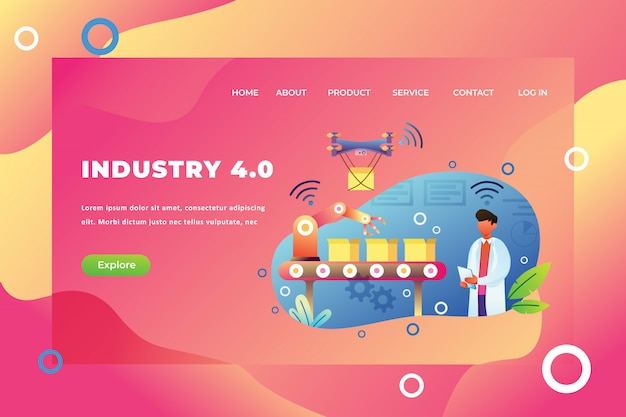 Industry 4.0 landing page template Premium Vector