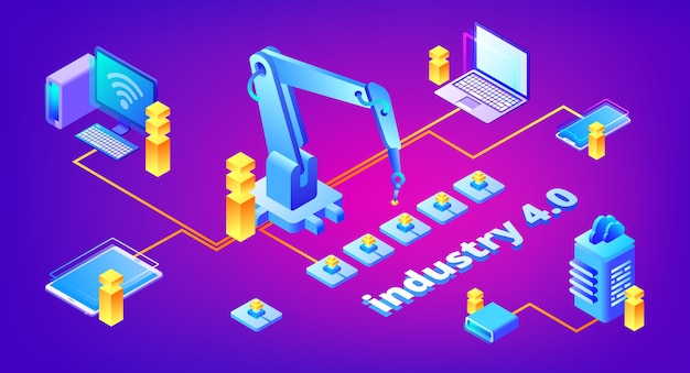 Industry 4.0 technology illustration of automation and data exchange system Free Vector