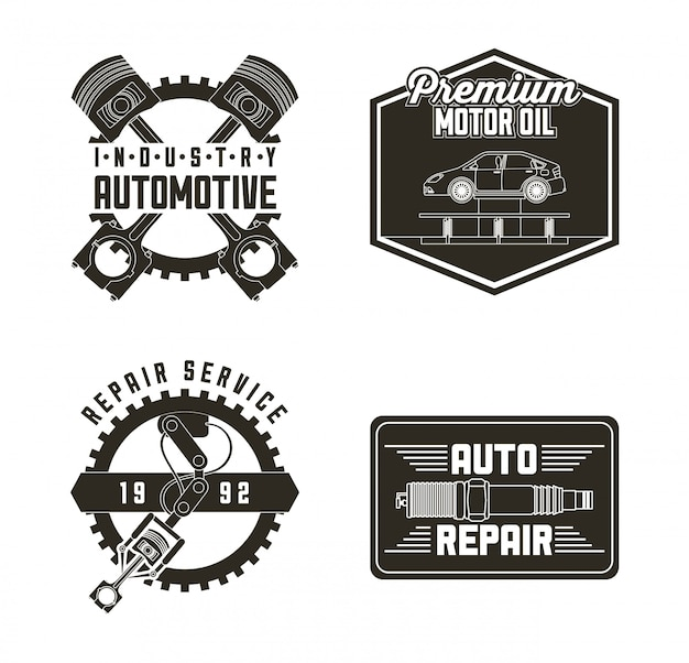 Industry automotive auto service labels Free Vector