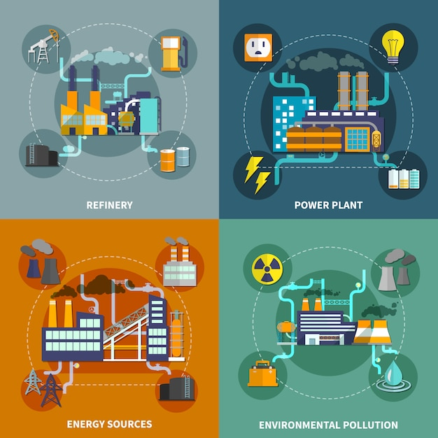 Industry flat collection layout Free Vector