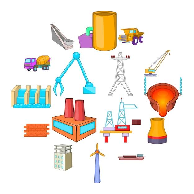 Industry icons set, cartoon style Premium Vector