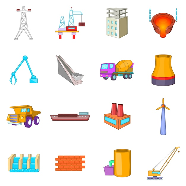 Industry icons set Premium Vector
