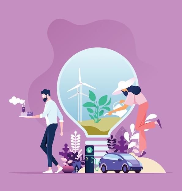 Industry sustainable development with environmental Premium Vector