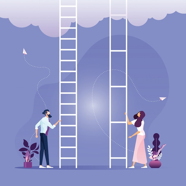 Inequality in corporate business concept, businessman and businesswoman Premium Vector