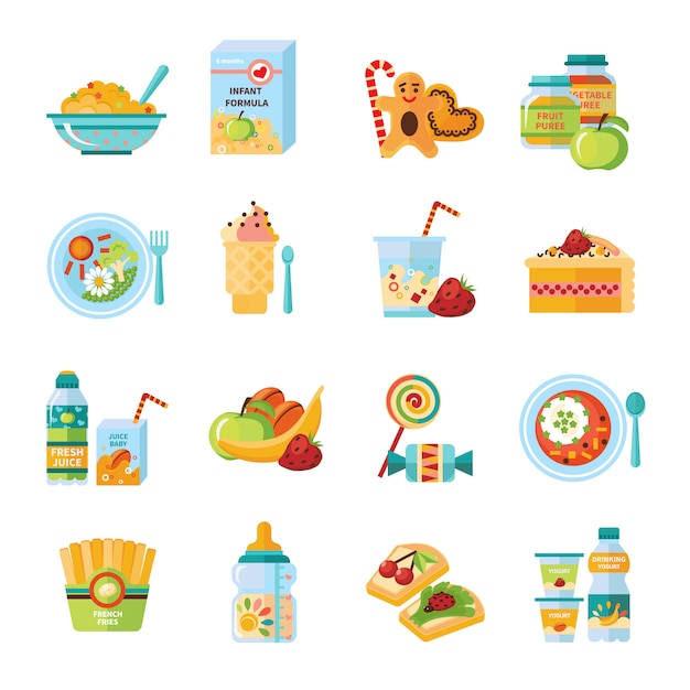 Infant baby food flat icons set Free Vector
