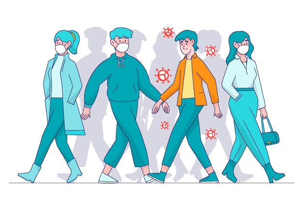 Infected people among healthy Free Vector