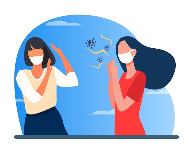 Зараженная женщина в маске кашляет. распространение вируса, нарушение социальной дистанции плоские векторные иллюстрации. коронавирус, эпидемия, инфекция Бесплатные векторы