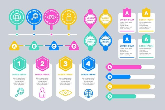 Progettazione del modello di raccolta di elementi infografici Vettore gratuito