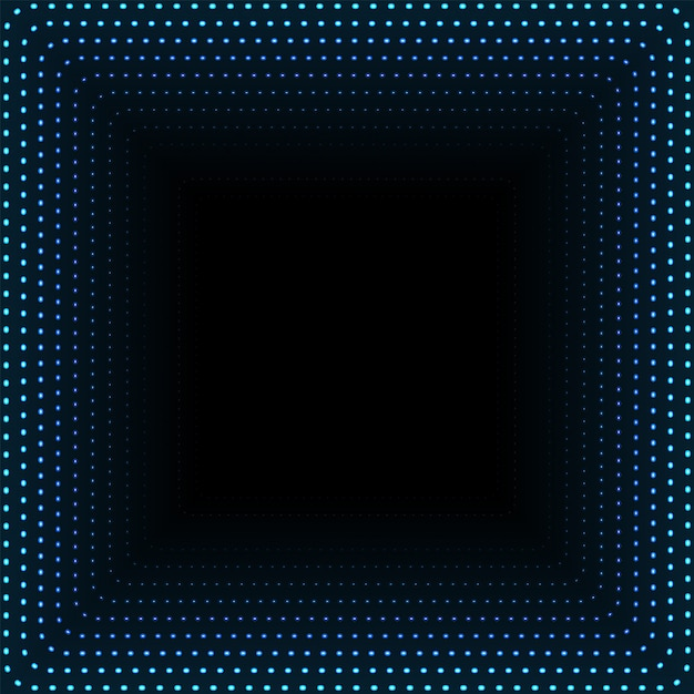 Infinite square tunnel of glowing dots. abstract points cyber technology background. illustration Premium Vector