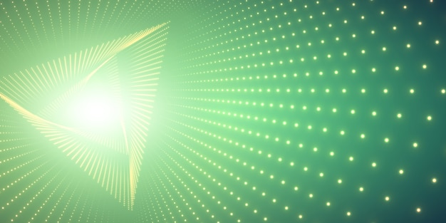 Infinite triangle twisted tunnel and light Free Vector