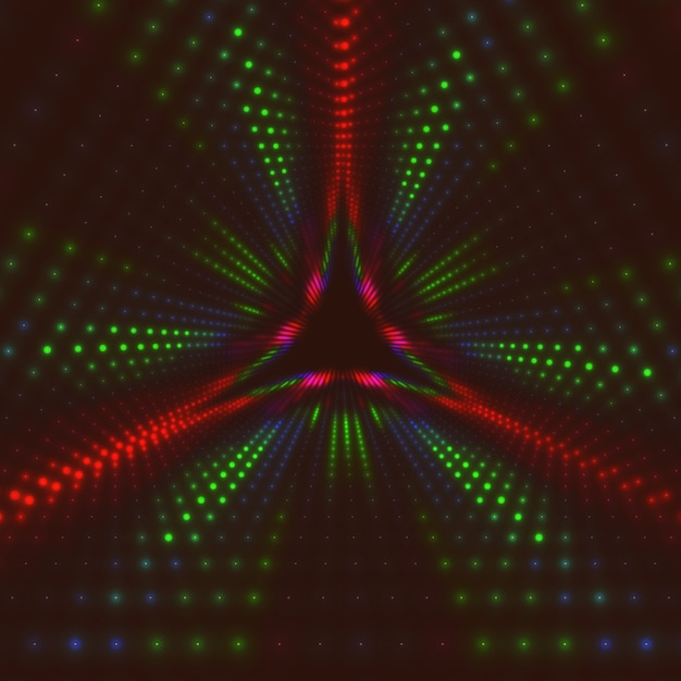 Infinite triangular tunnel of shining flares Free Vector