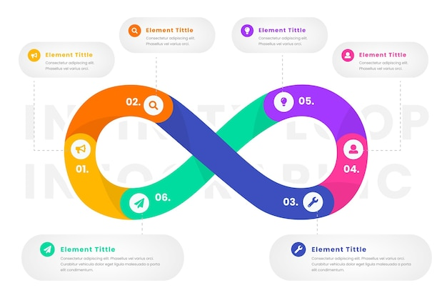 Infinity loop infographic template Free Vector