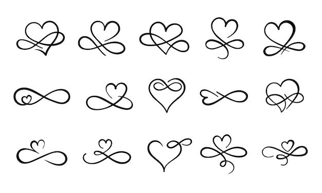 무한 사랑이 번성합니다. 손으로 그린 하트 장식 번영, 화려한 문신 디자인 및 무한 하트 사랑 무료 벡터
