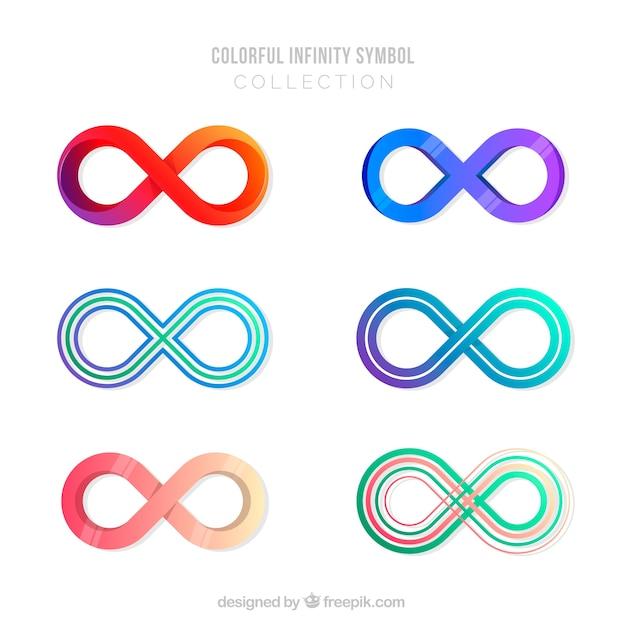 Collezione simbolo infinito con colori Vettore gratuito
