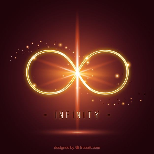 Infinity symbol with lens flare effect Free Vector