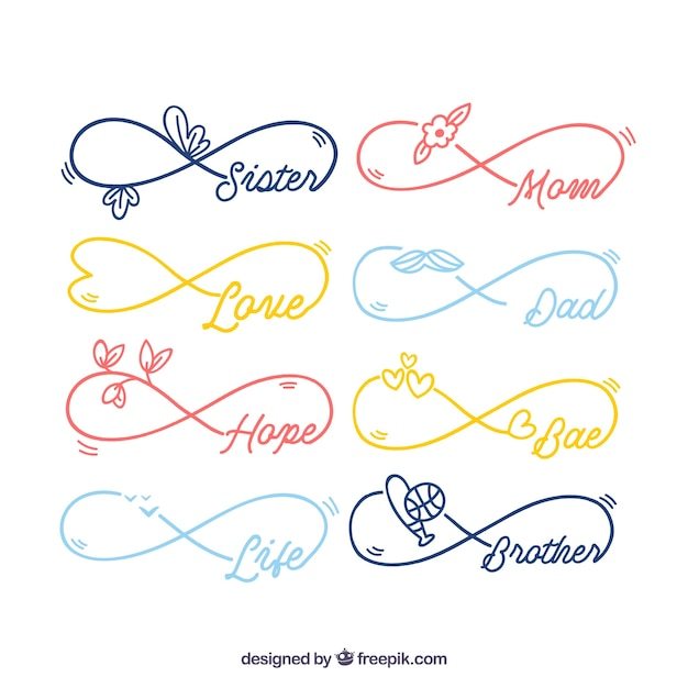 Infinity Symbol With Word Collection Vector Free Download