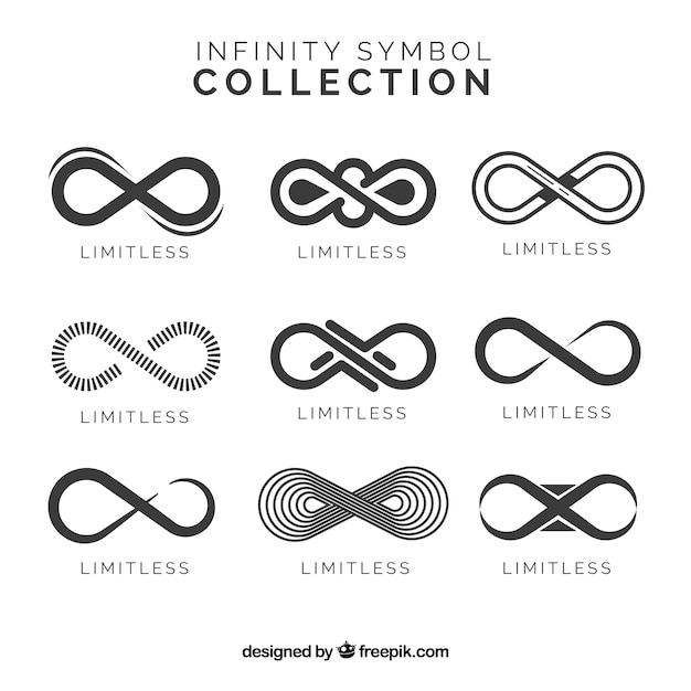 Collezione di simboli infinito in colore nero Vettore gratuito