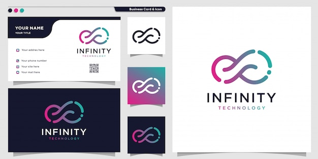 Infinity tech logo with line art style and business card design template, outline, color gradient, t