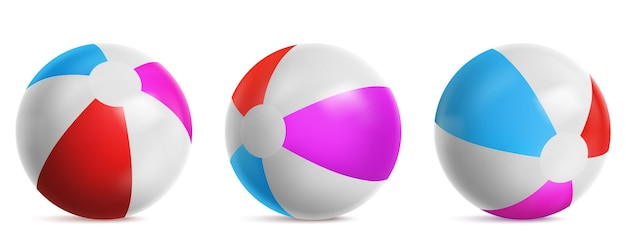 Inflatable beach ball, striped air balloon for play in water, sea or swim pool. vector realistic set of bright rubber beachball with blue, red and pink colors isolated on white background Free Vector