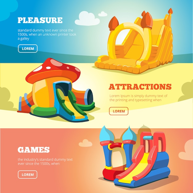 Inflatable castles and childrens hills on playground Premium Vector