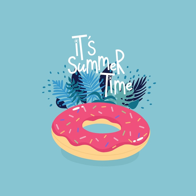 Inflatable donut surrounded by tropical leaves with lettering it's summer time on the blue background. Premium Vector