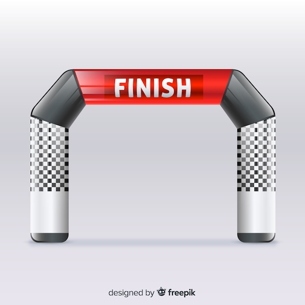 Inflatable finish line arch with realistic design Free Vector