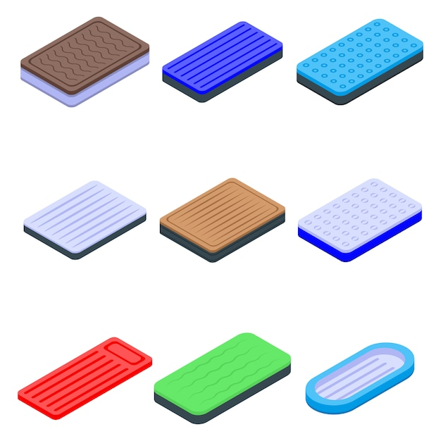 Inflatable mattress icons set, isometric style Premium Vector