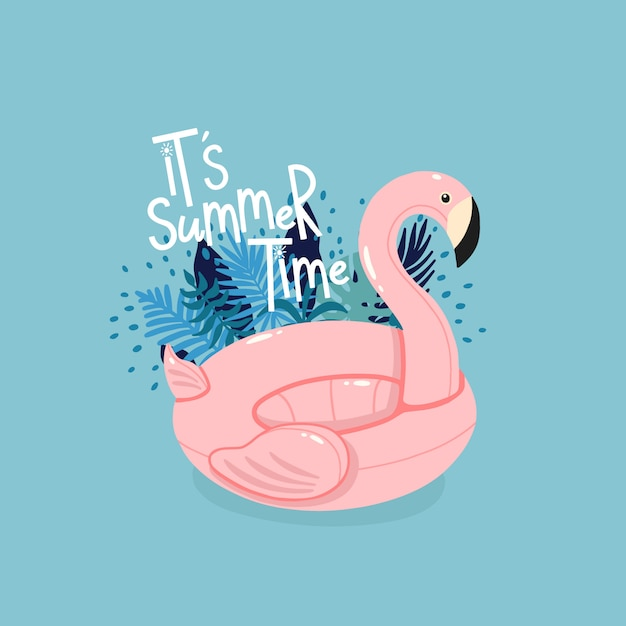 Inflatable pink flamingo surrounded by tropical leaves with lettering it's summer time on the blue background. Premium Vector
