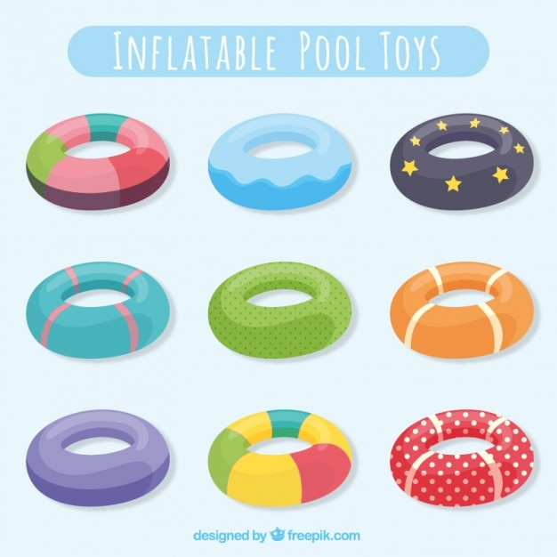 Inflatable pool toy collection Free Vector